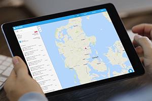 Tablet der viser Keatech GPS tracking