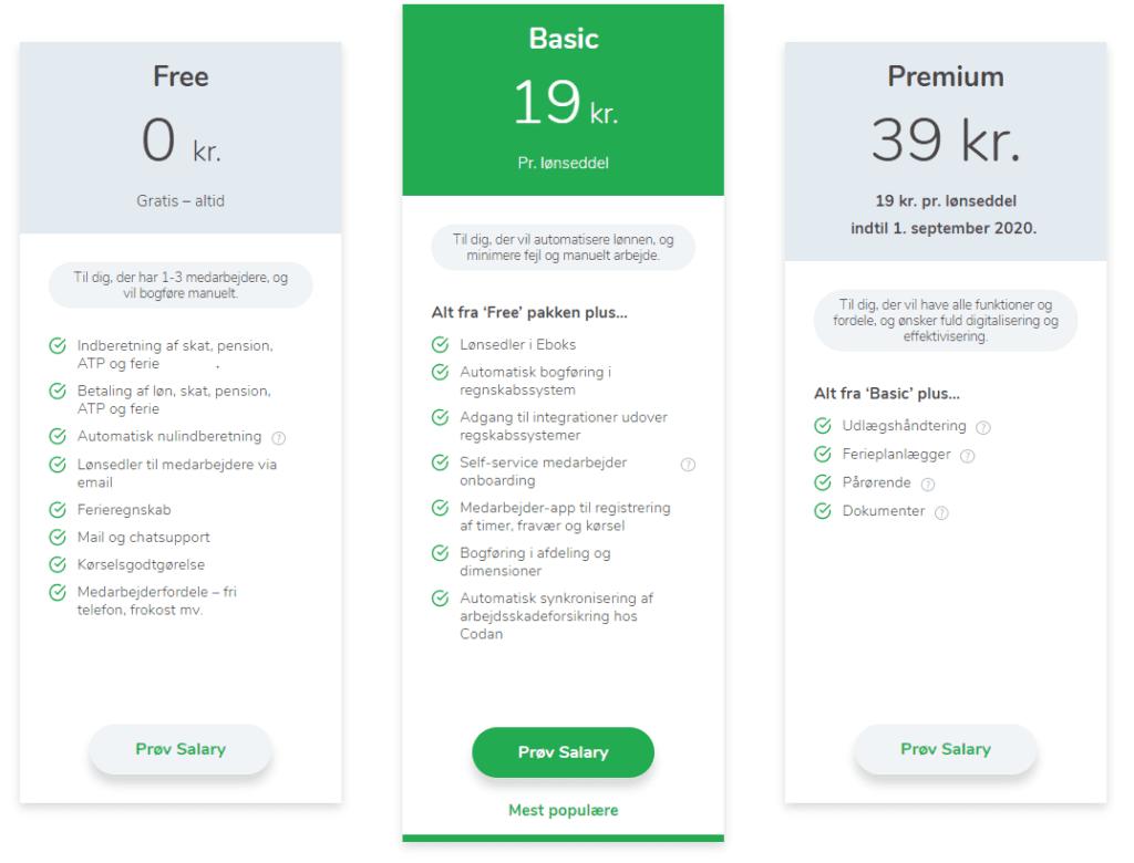 screenshot af Salary priser - Free / Basic 19 kr / Premium 39 kr