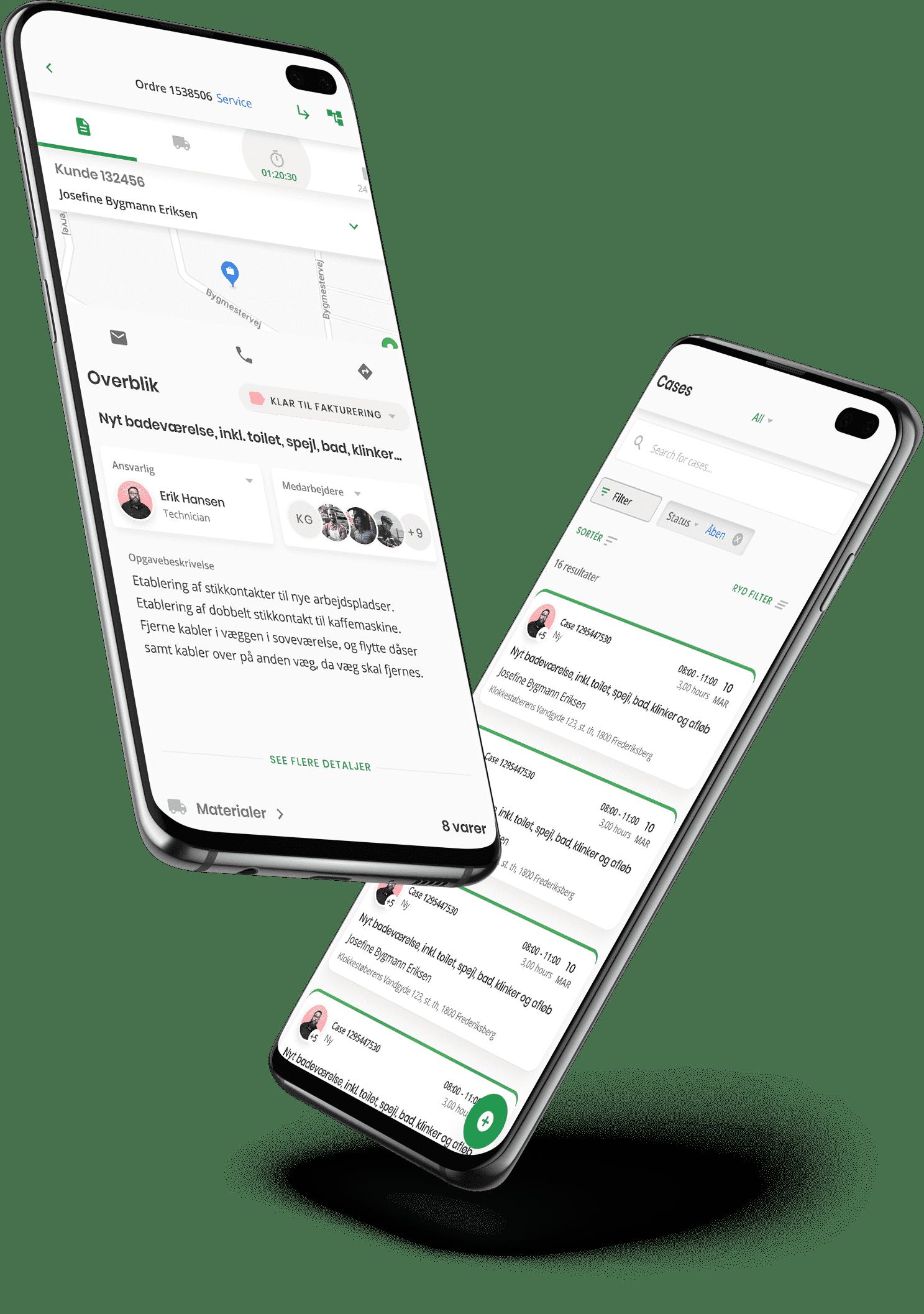 To smartphones der viser Ordrestyrings app