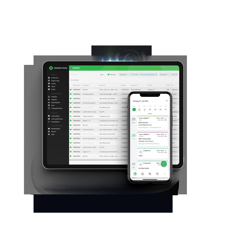 Tablet og smartphone der viser Ordrestyrings systemet