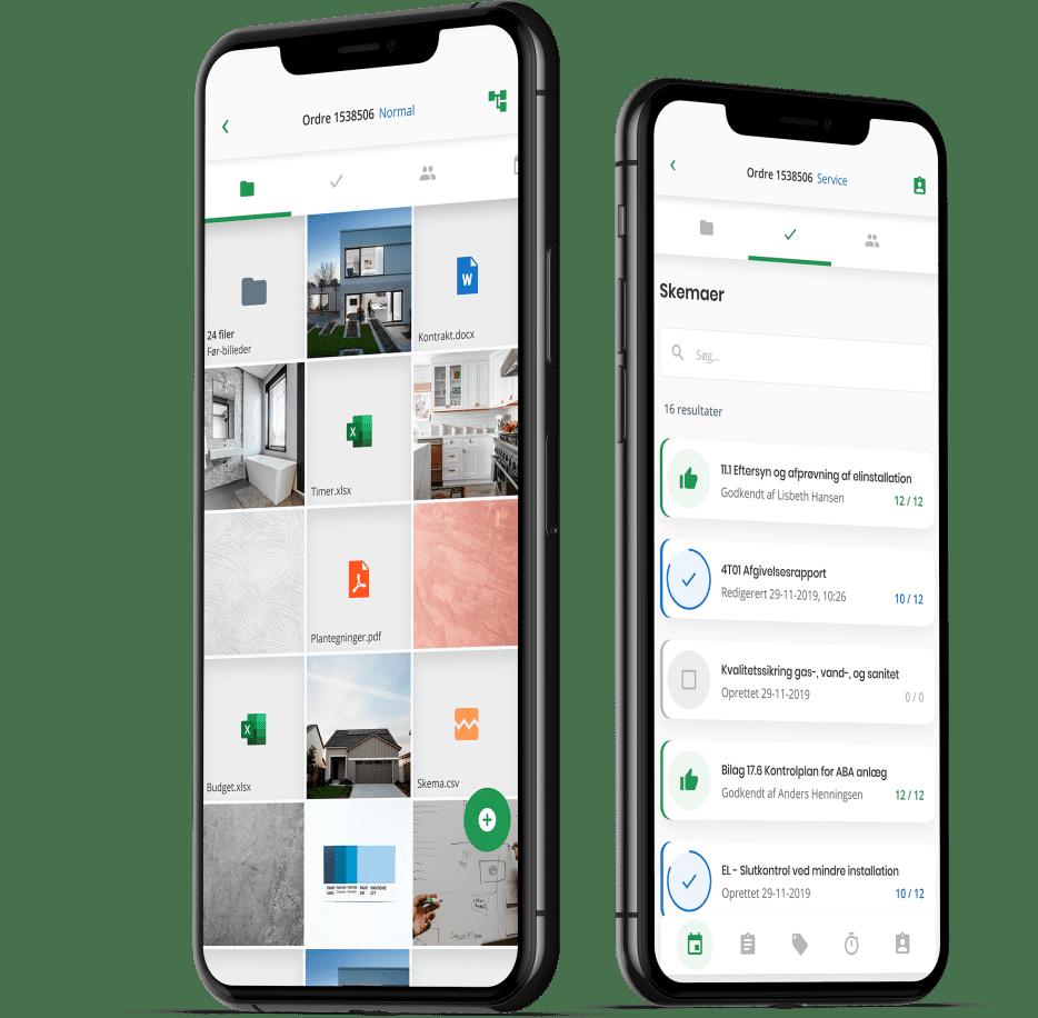 To iPhones der viser fotodokumentation og kvalitetssikringsskemaer i Ordrestyrings app'en