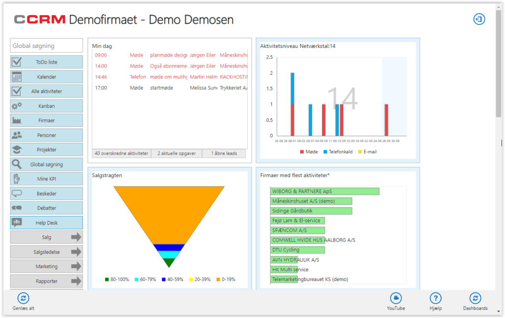screenshot af channelcrm demo