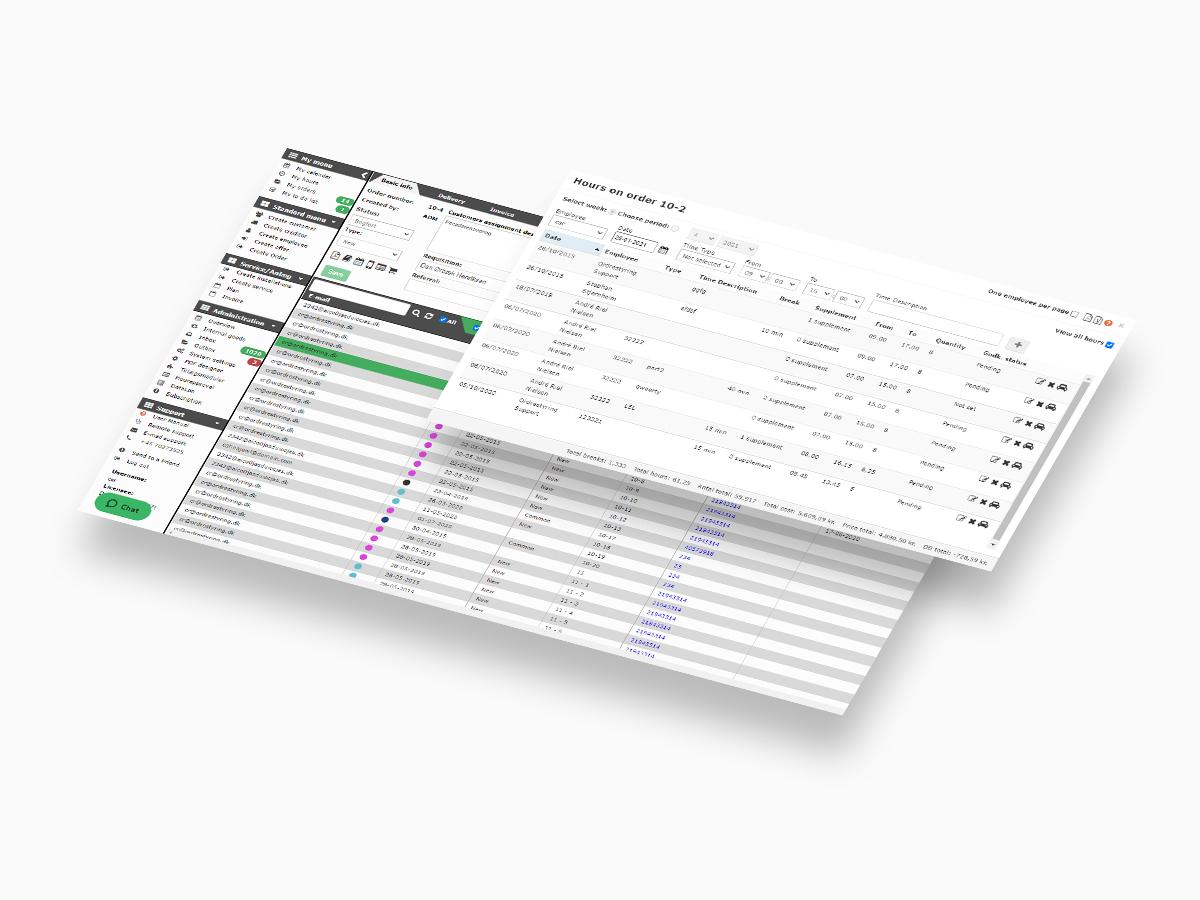 screenshot af Ordrestyring 2.0 systemet