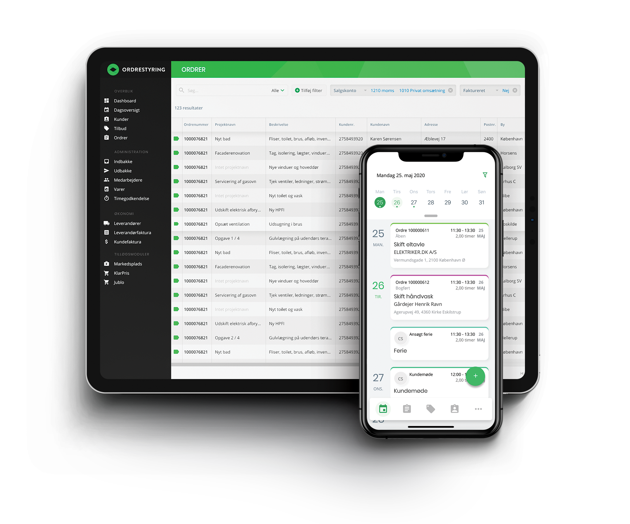 screenshot af ordrestyring systemet og appen i tablet og mobile