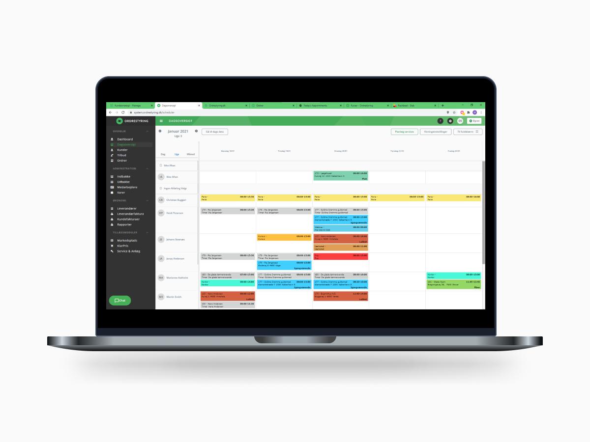 Ordrestyring screenshot af nye systemet Macbook Pro