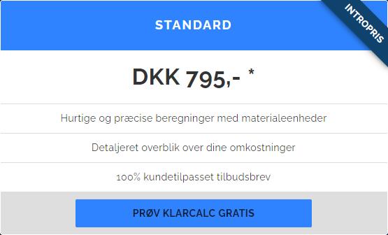 KlarCalc standard prisoversigt