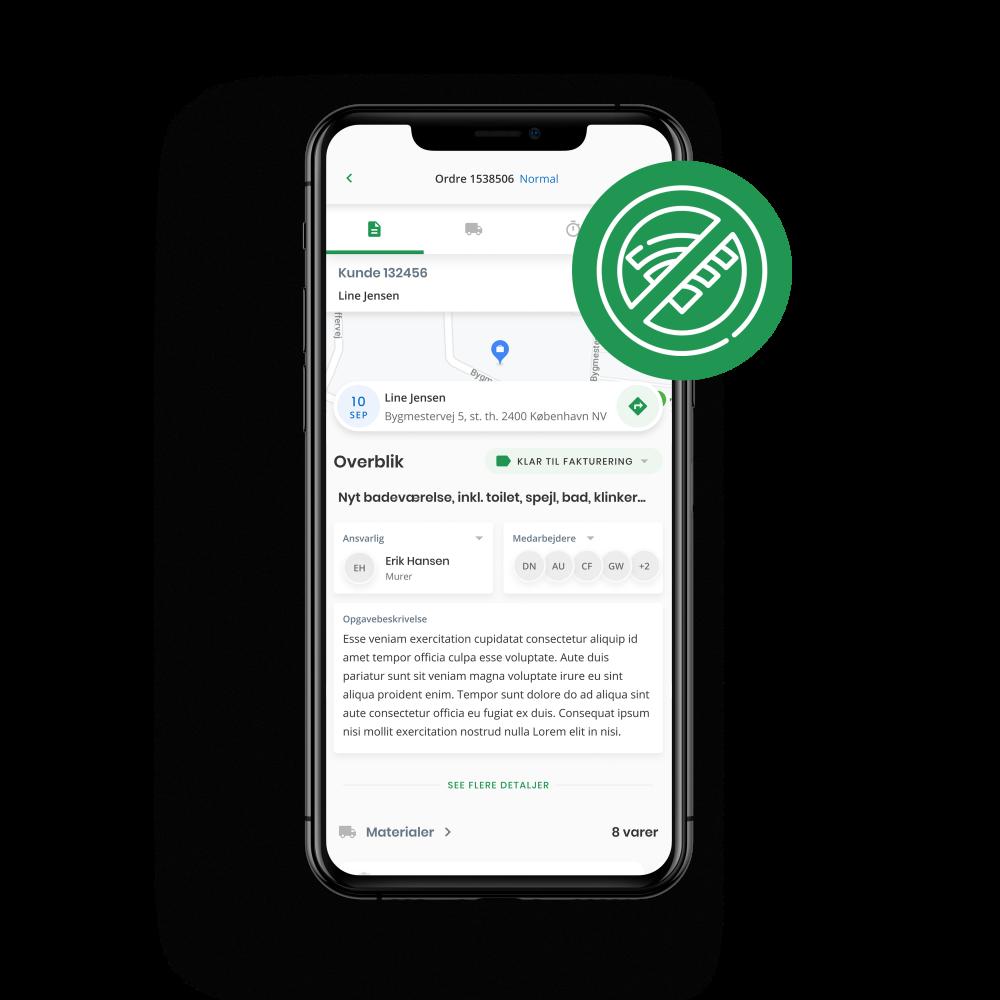 Smartphone med Ordrestyrings app'en og et offline ikon